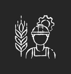 Agricultural engineer chalk white icon on black vector