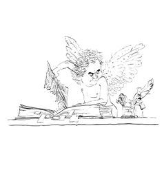 Angel bureaucrat pulls out a page from the book vector