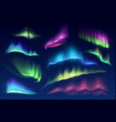 Arctic aurora borealis polar lights set vector