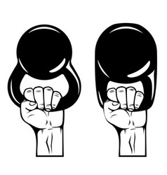 athlete hand with kettlebell design element vector image