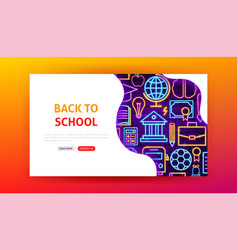 back to school neon landing page vector image