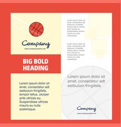 basket ball company brochure title page design vector image