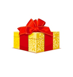 beautiful gold wedding gift box with a red bow and vector image