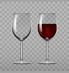 big reds wine and empty glass vector image