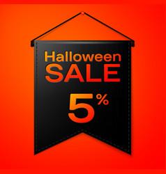 Black pennant with inscription halloween sale vector