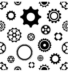 Black seamless gear wheels pattern isolated vector
