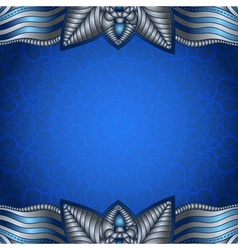 Blue frame with vintage silvery pattern vector