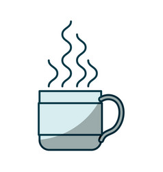 Blue shading silhouette of hot coffee cup vector