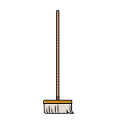 Broom with wooden stick in colored crayon vector