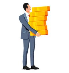 businessman holding stack big dollar coins vector image