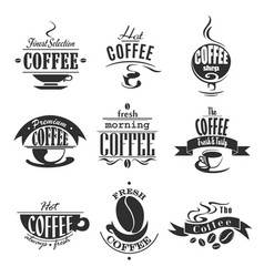 Cafe or coffeeshop icons of coffee cups and beans vector