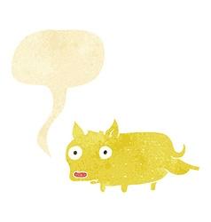 Cartoon little dog cocking leg with speech bubble vector