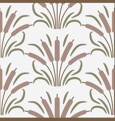 cattail plant cartoon seamless pattern vector image