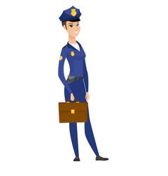Caucasian police woman holding briefcase vector