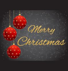Christmas balls red on dark black background vector