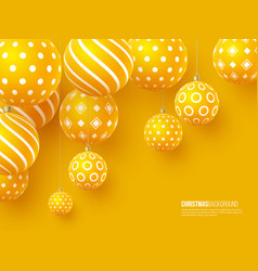 christmas yellow balls with geometric pattern 3d vector image