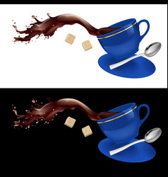Coffee in blue cup on white and black background vector