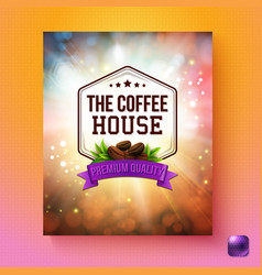 Coffee premium quality background with button vector