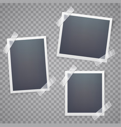 collection of blank photo frames with adhesive vector image
