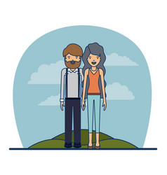 couple teacher profession of bearded man and woman vector image