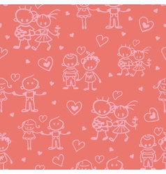 Couples in love seamless pattern background vector image
