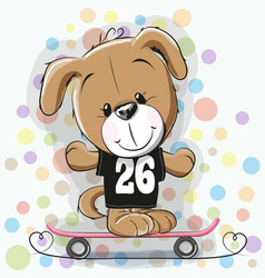 Cute cartoon puppy with skateboard vector