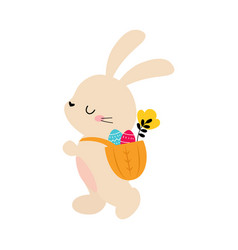cute little bunny carrying basket full colorful vector image