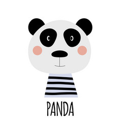cute little panda animal icon vector image
