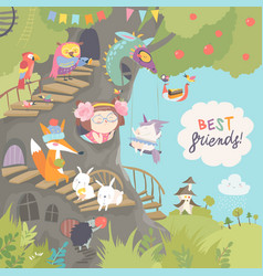 Cute treehouse with little girl and animals vector