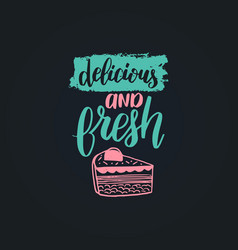 delicious and fresh lettering label vector image