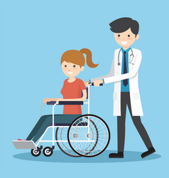 Doctor with wheelchair patient vector