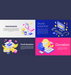 Donations banner set isometric style vector