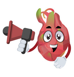 dragon fruit with megaphone on white background vector image