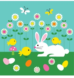 easter bunny and chicks vector image