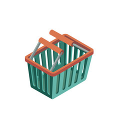 empty plastic shopping basket isometric 3d icon vector image