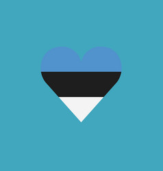 estonia flag icon in a heart shape in flat design vector image