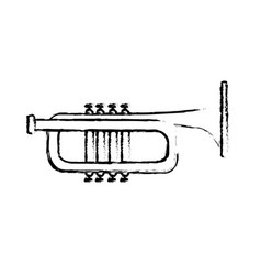 Figure tumpet musical instrument to play music vector