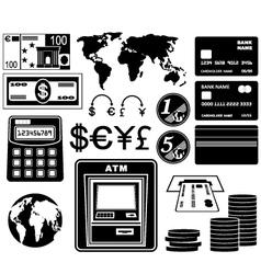 Financial bank set of icons vector image