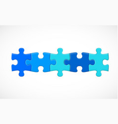 five piece puzzle connected in line solution vector image