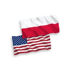 flags poland and america on a white background vector image