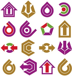 Flat abstract shapes different business icons and vector