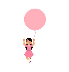Flat girl child walking with air balloons vector