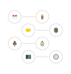 flat icons tea armchair date and other vector image