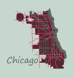 Flat map chicago city illinois roads vector