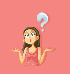 Funny shrugging woman having many questions vector