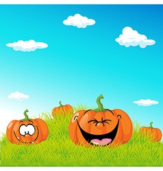 funny with pumpkin on green grass vector image