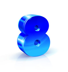 glossy blue eight 8 number 3d on vector image