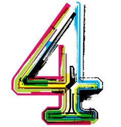Grunge colorful font Number 4 vector