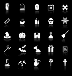 Halloween icons with reflect on black background vector image