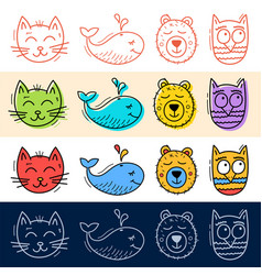 hand draw cat owl whale bear icon set in doodle vector image